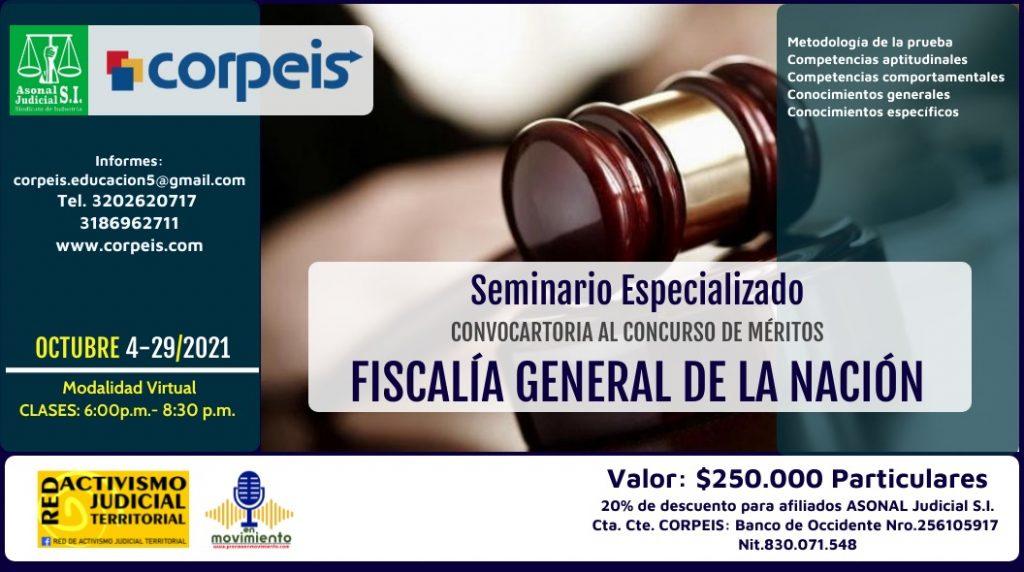 <strong>CONVOCATORIA SEMINARIO ESPECIALIZADO PARA CONCURSO DE MÉRITOS FISCALÍA GENERAL DE LA NACIÓN